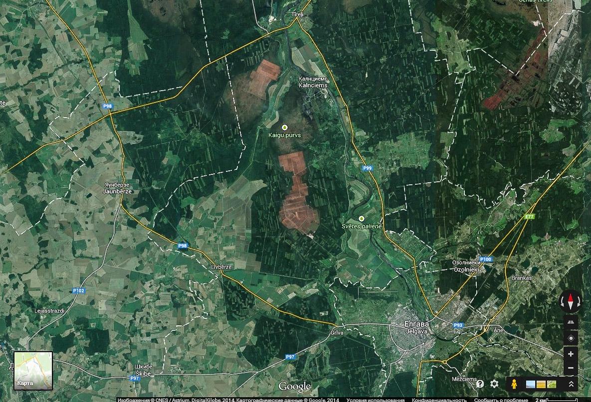 Торфяные поля и Елгава